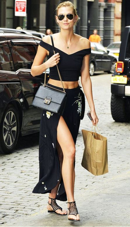 karlie-kloss-black-dress-off-shoulder-crop-top-slit-skirt-street-style-outfit-celeb-look