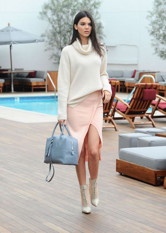 kendall-jenner-street-style-outfit-peach-slit-skirt-white-slouchy-sweater-celeb-style-look