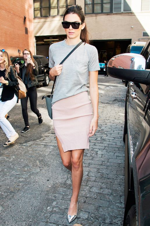 kendall-jenner-street-style-outfit-rose-slit-skirt-grey-tee-casual-celeb-style-look