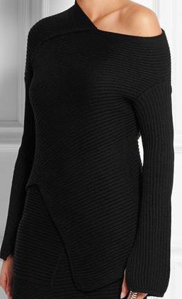 latest-winter-2016-sweater-trends-joseph-black-asymmetric-rubbed-off-shoulder
