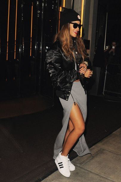 rihanna-black-leather-jacket-slit-skirt-street-style-party-outfit-look-white-sneakers-celeb