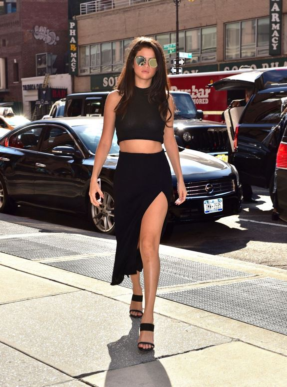 selena-gomez-black-2-piece-dress-crop-top-slit-skirt-street-style-outfit-celeb-look