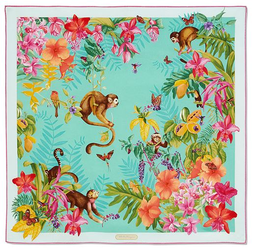 Monkey and Jungle Print Scarf-blue