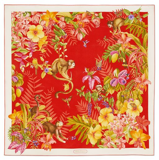 Monkey and Jungle Print Scarf-red