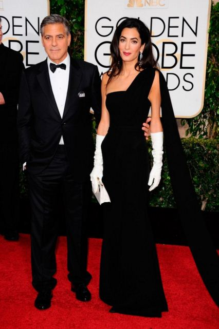 amal-clooney-best-red-carpet-dresses-black-gown-celeb-george-celebrity-white-gloves