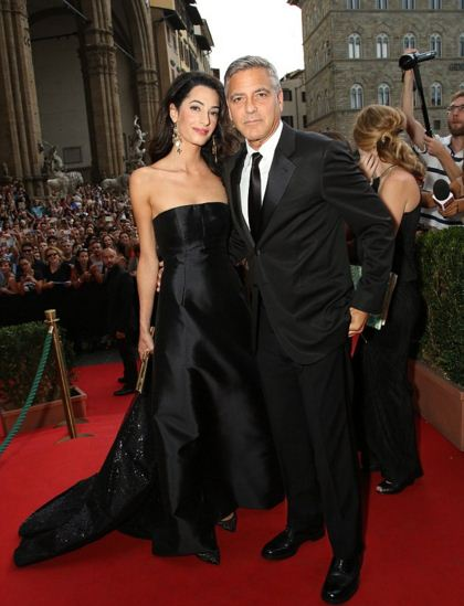 amal-clooney-best-red-carpet-dresses-black-strapless-silk-gown-celeb-george-celebrity