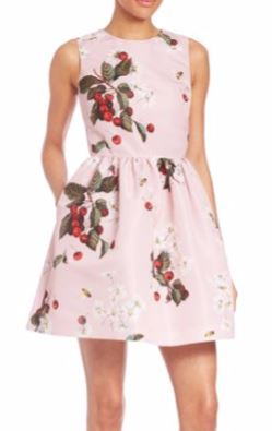 honeymoon-dresses-cherry-pink-romantic-short-flared-red-valentino-dress-outfit