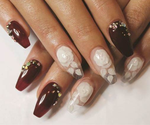 latest-nail-art-ideas-trends-spring-summer-2016-nailpolish-3d-white-rose-embellished-bridal