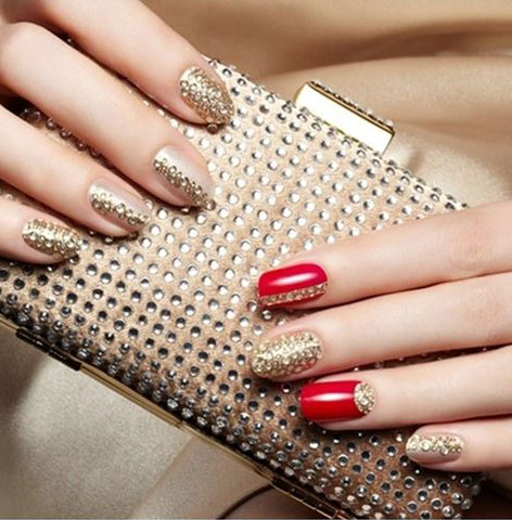 latest-nail-art-ideas-trends-spring-summer-2016-nailpolish-crystal-gold-red