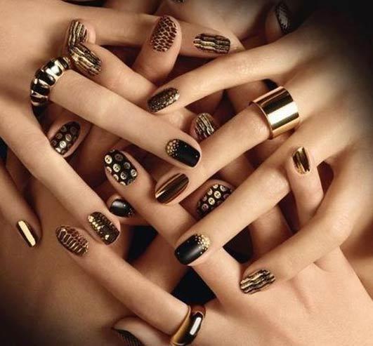 latest-nail-art-trends-spring-summer-2016-nailpolish-gold-art