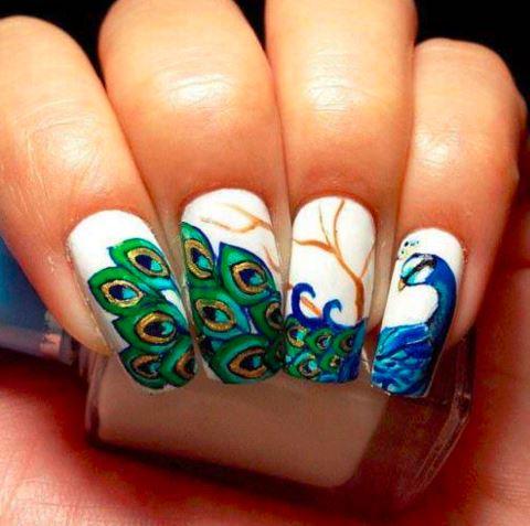 latest-nail-art-trends-spring-summer-2016-nailpolish-peacock-theme