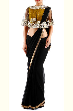 latest-saree-trends-2016-designs-designer-cape-black-gold-pratik-n-priyanka