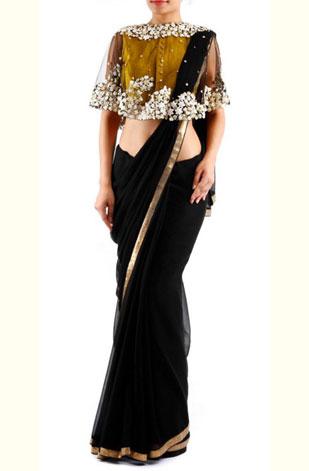 latest-saree-trends-2016-designs-designer-cape-black-gold-pratik-n-priyanka