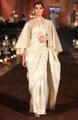 latest-saree-trends-2016-designs-designer-cape-rohit-bal-gold-white