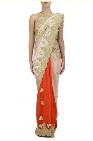 latest-saree-trends-2016-designs-designer-color-pleats-adarsh-gill-white-gold-orange