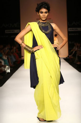 latest-saree-trends-2016-designs-designer-jacket-and-long-sleeves-payal-singhal-yellow