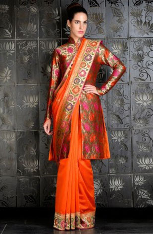 latest-saree-trends-2016-designs-designer-jacket-and-long-sleeves-rohit-bal-orange