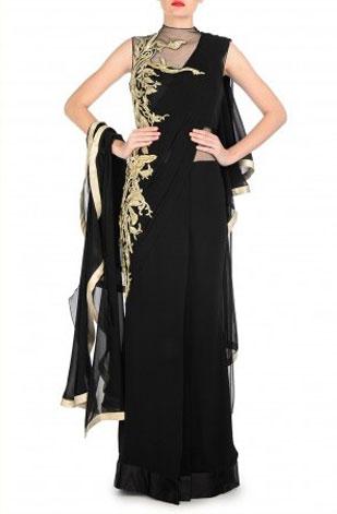 latest-saree-trends-2016-designs-designer-lehenga-saree-gown-gaurav-gupta-black