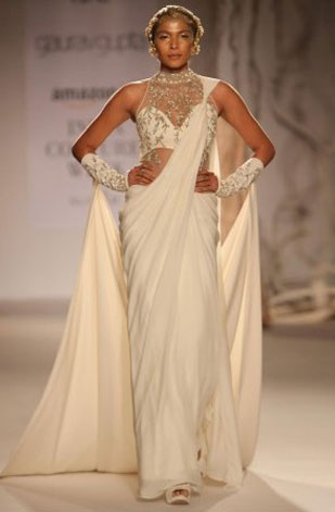 latest-saree-trends-2016-designs-designer-long-train-gaurav-gupta-satin-white