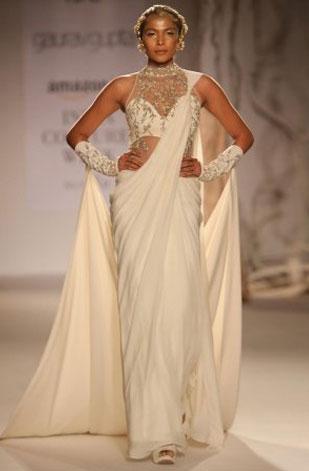 latest-saree-trends-2016-designs-designer-long-train-gaurav-gupta-satin-white