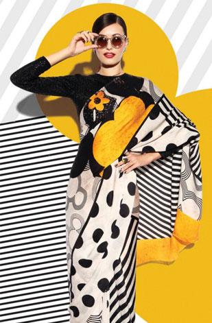 latest-saree-trends-2016-designs-designer-pop-prints-black-white-yellow-satya-paul