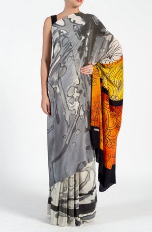 latest-saree-trends-2016-designs-designer-pop-prints-satya-paul-grey