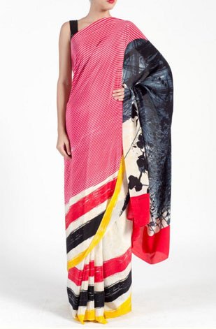 latest-saree-trends-2016-designs-designer-pop=prints-satya-paul-pink