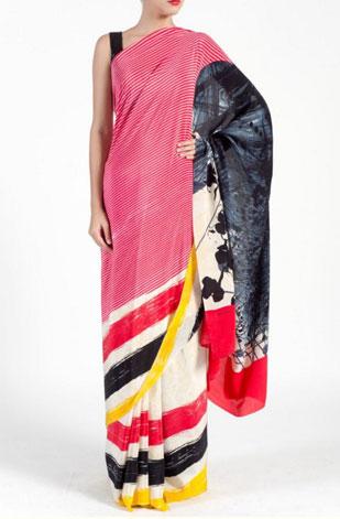 latest-saree-trends-2016-designs-designer-pop=prints-satya-paul-pink