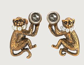 monkey earrings with glass pearls