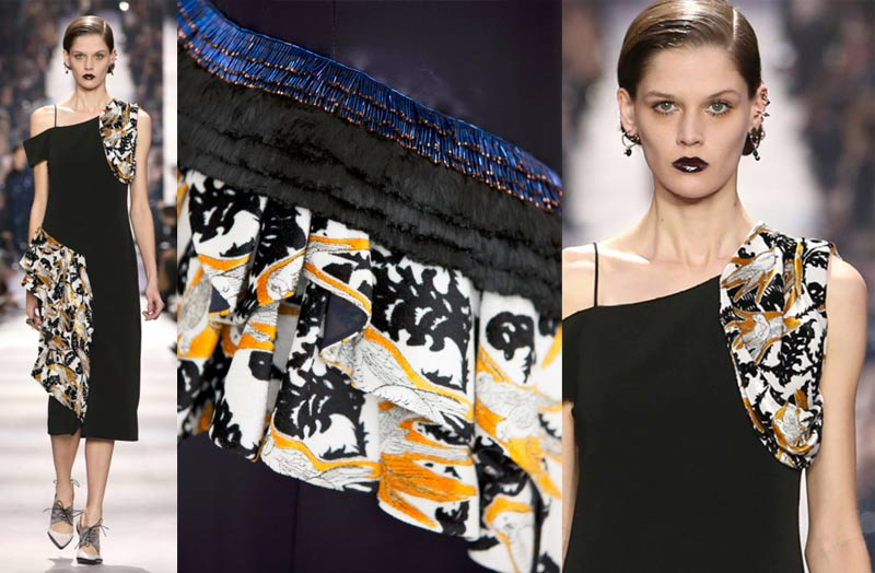 DIOR_AW1617-fall-winter-2016-rtw-ready-to-wear-detail-hand-painting-velvet-parrot-print-black-yellow-pattern