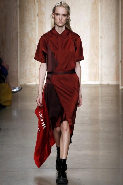 best-top-latest-looks-new-york-fashion-week-fall-2016-ready-to-wear-DKNY-burgundy-shirt-dress