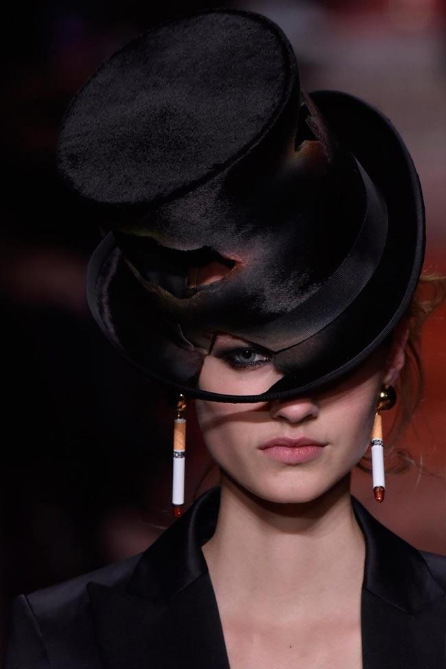 moschino-fall-winter-2016-17-womens-black-hat-burnt-cigarette-earrings