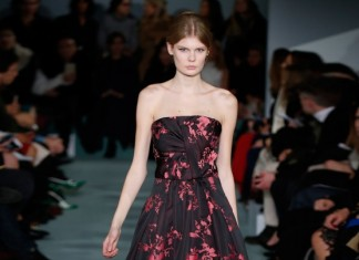 oscar-de-la-renta-fall-2016-winter-2017-rtw-collection-dresses (47)-red-black-midi-dress-strapless-best