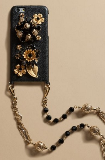women-tech-fashion-brand-accessories-designer-collection-fancy-gift-items-dolce-gabbana-iphone-case-black-gold
