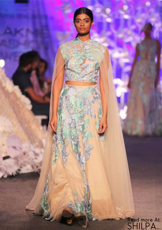 Manish-Malhotra-Spring-Summer-2016-nude-beige-crop-top-lehenga-blue-cape-net Manish Malhotra Wedding Dresses 2017-Top 20 Bridal Dress by Manish Malhotra