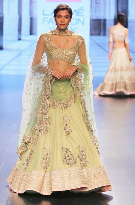anushree-reddy-indian-engagement-party-lehenga-cream-green-outfit-2016-designer-beautiful