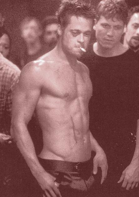 brad-pitt-best-hollyood-actor-six-pack-6pack-topless-hot-male-fight-club-hottest-abs-retro