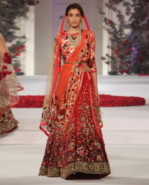 indian-bridal-wedding-lehengas-latest-designs-red-orange-red-rose-designer-varun bahl