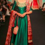 indian-engagement-party-dresses-gown-green-red-duppatta-saroj-jalan-indowestern-outfit-2016-designer