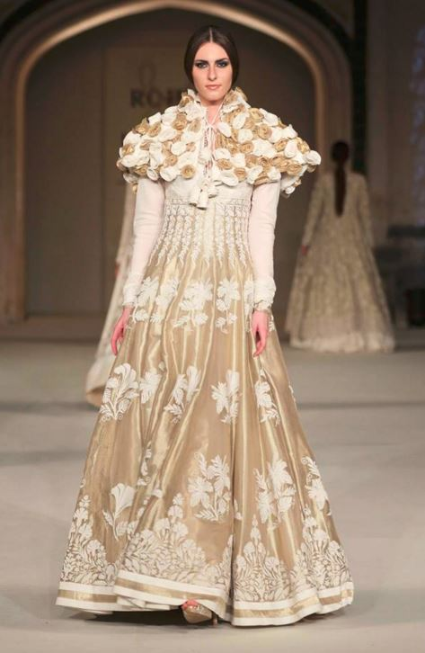 Indo-Western fashion-dresses-gown-rohit-bal-gold-white-jacket-indowestern-outfit-what-to-wear-2016