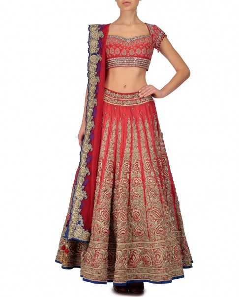 red-bridal-lehenga-designs-gold-embroidery-blue-border-lehengas-designer-2016-latest-kisneel-by-pam-mehta