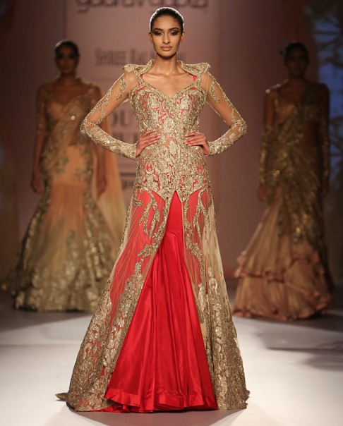 red-bridal-lehenga-designs-gold-net-sleeve-gown-lehengas-designer-2016-latest-gaurav gupta