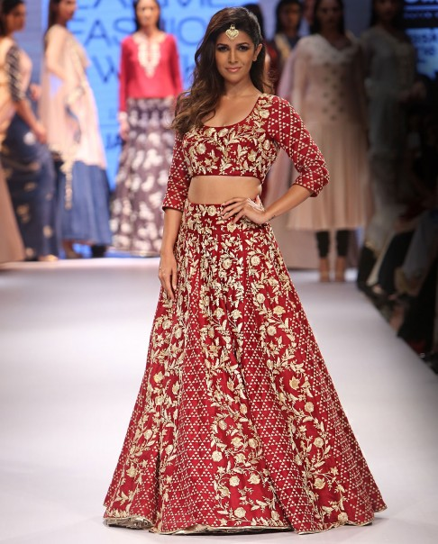 red-bridal-lehenga-designs-latest-2016-trends-payal singhal-golden-embroidery-short-choli-designer