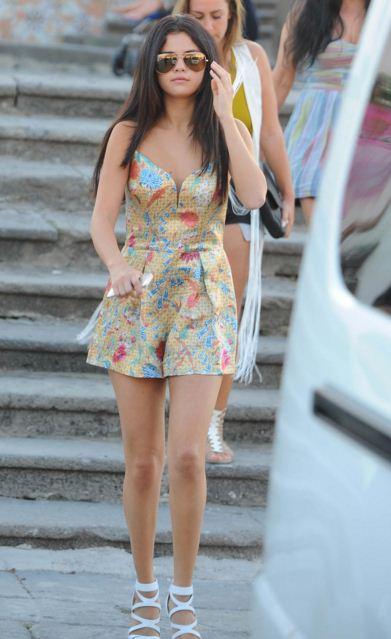 selena-gomez-best-summer-street-style-dress-romper-white-shoes