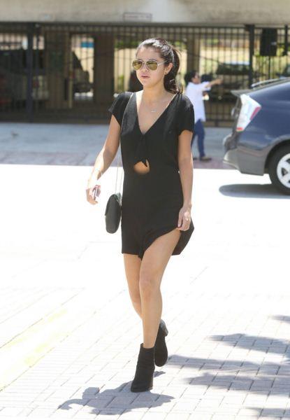 selena-gomez-best-summer-street-style-little-black-dress-booties
