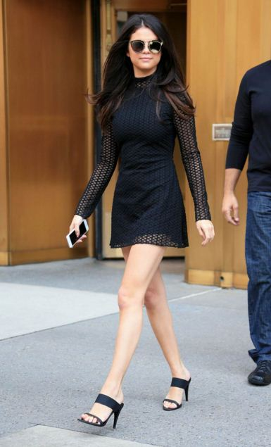 selena-gomez-best-summer-street-style-little-black-sheer-dress-heels