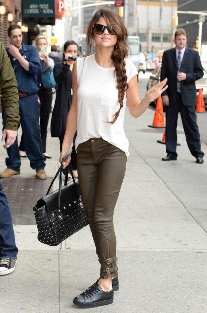 selena-gomez-street-style-white-top-brown-pants-side-braid