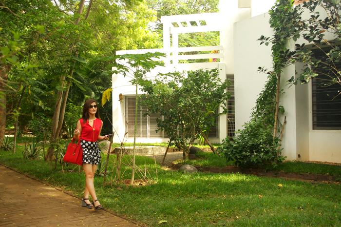 shilpa-ahuja-red-top-polka-dot-black-skirt-garden-look