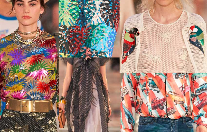 chanel-cruise-collection-fashion-show-2016-details-prints-designs-leaf-colorful-cars