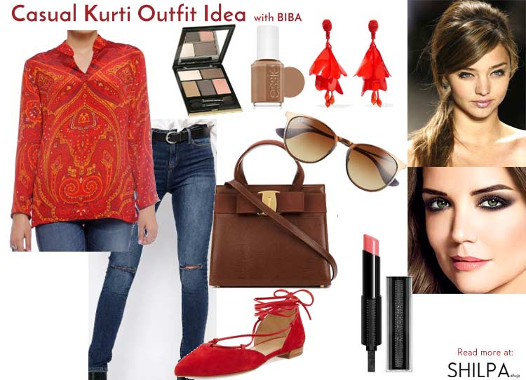 how-to-wear-kurtis-casually-with-jeans-outfit-idea-indian-ethnic-wear-red-kurta